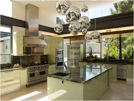Fresh-Green-Mid-Century-Kitchen-Design-with-Granite-Island-and-Unique-Bright-Hanging-Luminous-Ball-Lightings