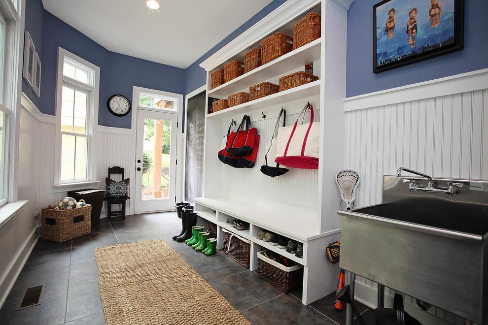 Glamorous-Slop-Sink-method-Charlotte-Farmhouse-Entry-Decoration-ideas-with-area-rug-baskets-beadboard-bench-seat-blue-wall-built-in-storage-chalkboard-chalkboard-paint-clock