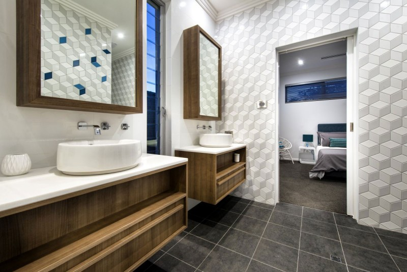 Inspiring Bathroom Design With Floor Tile And Mirror . Mid Century Modern  Bathroom Designs1