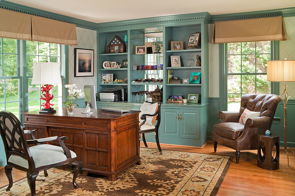 Magnificent-Home-Office-Traditional-design-ideas-for-Teal-Blue-Paint-Image-Gallery