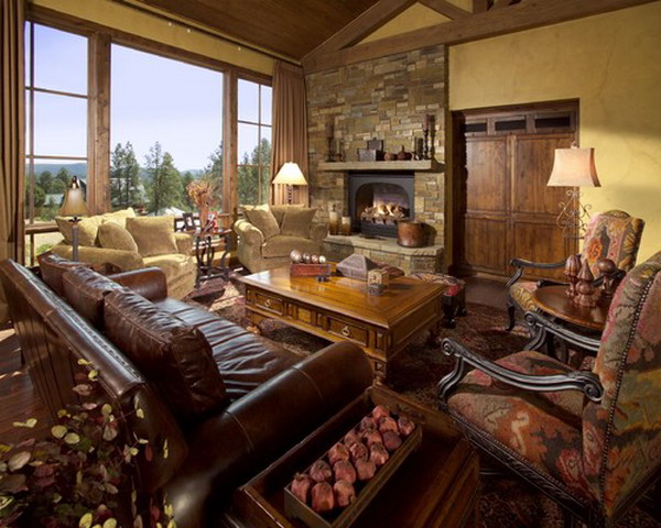 Mediterranean-Living-Room-with-leather-Sofa