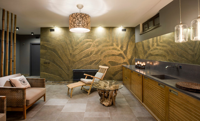 Premium Beach Style Basement Design Ideas