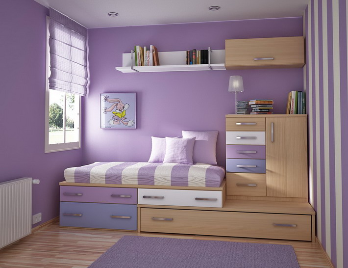 Purple-Color-Scheme-in-Small-Kids-Bedroom-Designs