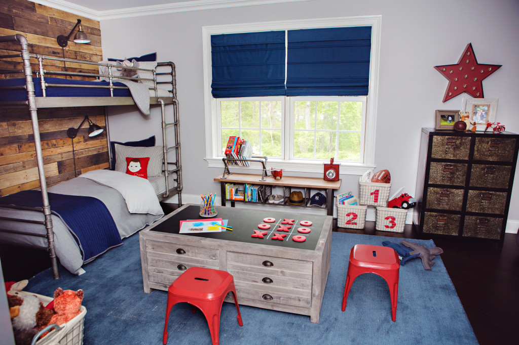 30 amazing industrial kids bedroom design for Blue and white boys room