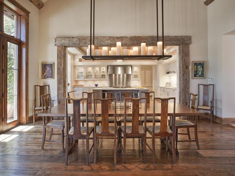 rustic dining room ideas with hanging candle lights