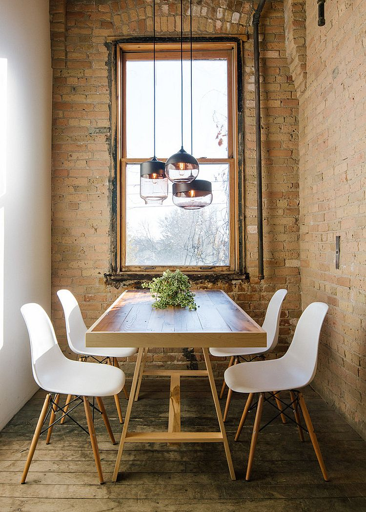 Small Industrial Style Dining Room With Lovely Lighting