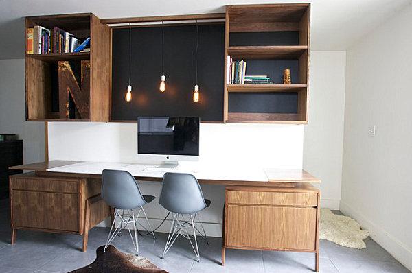Striking-lighting-in-a-modern-industrial-home-office