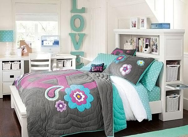 The-Blue-Pillow-Of-Stylish-Teenage-Girls-Bedroom-Ideas