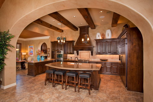 Wooden Brown Cabinets In Mediterranean Kitchen