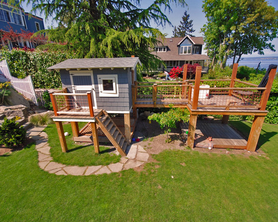 amazing-cheap-garden-playhouses-for-children-at-beach-style-landscape-design-with-grass-like-ground-cover