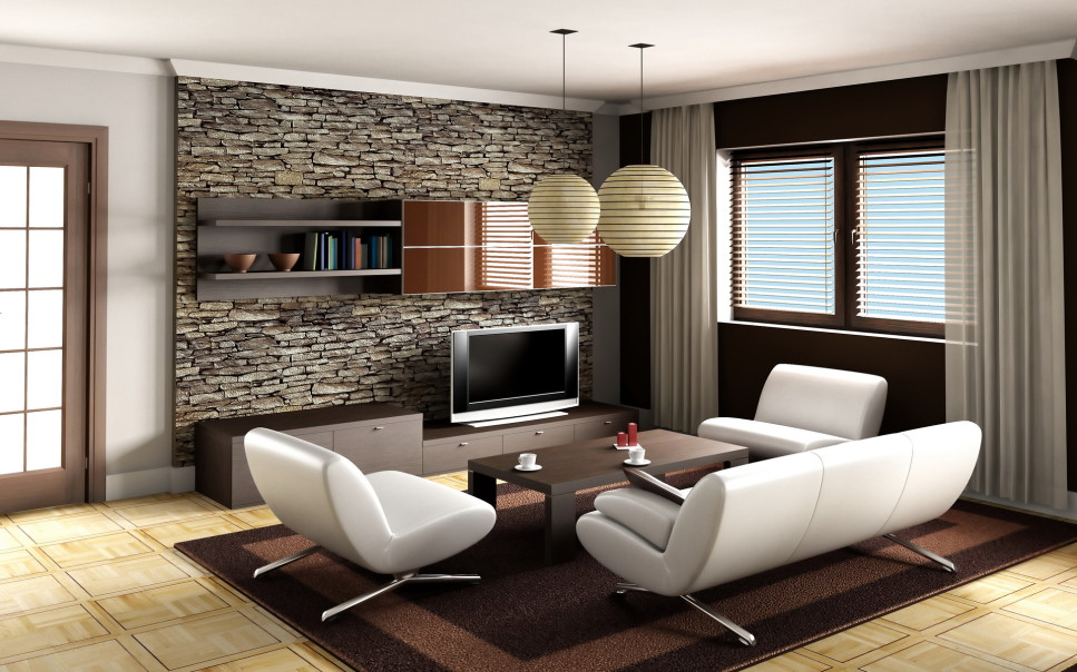 amazing sofa unit and living room with stone wall