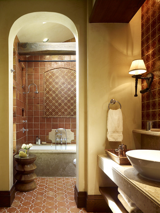 awesome-terra-cota-color-tile-at-mediterranean-bathroom-design-and-see-that-white-bowl-sink-wall-mounted-lighting-terrific-interior-when-using-terra-cota-color-ideas