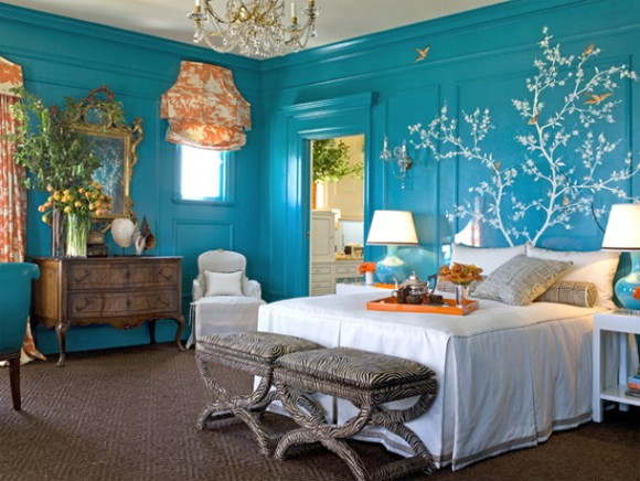 blue white orange bright colorful bedroom - Colorful Bedroom
