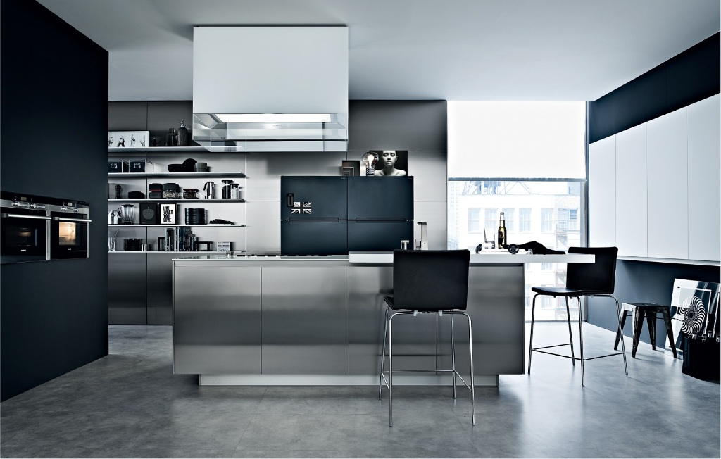 corner-large-window-ideas-and-black-chairs-in-industrial-kitchen-plus-modern-range-hood-also-wall-shelves