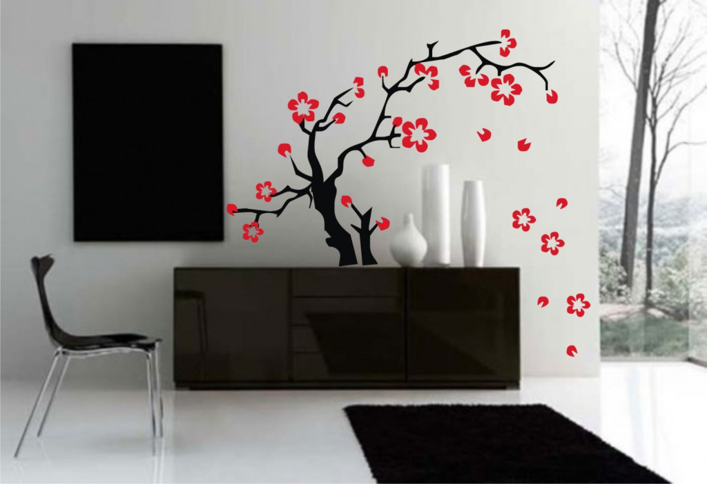 decal wall sticker art sakura flowers asian tattoo
