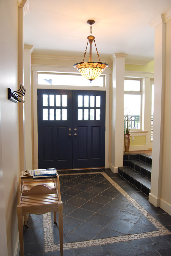 foyer-tile-designs-Entry-Farmhouse-with-rustic-