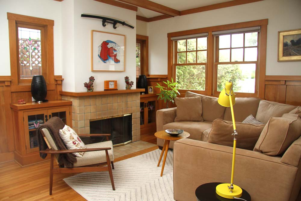 21 beautiful craftsman living design ideas for Craftsman style living room furniture