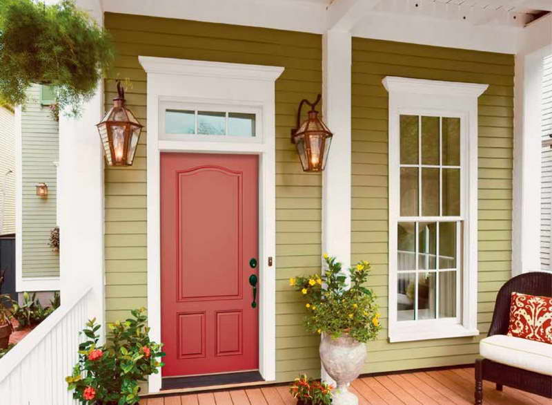 red-craftsman-front-door
