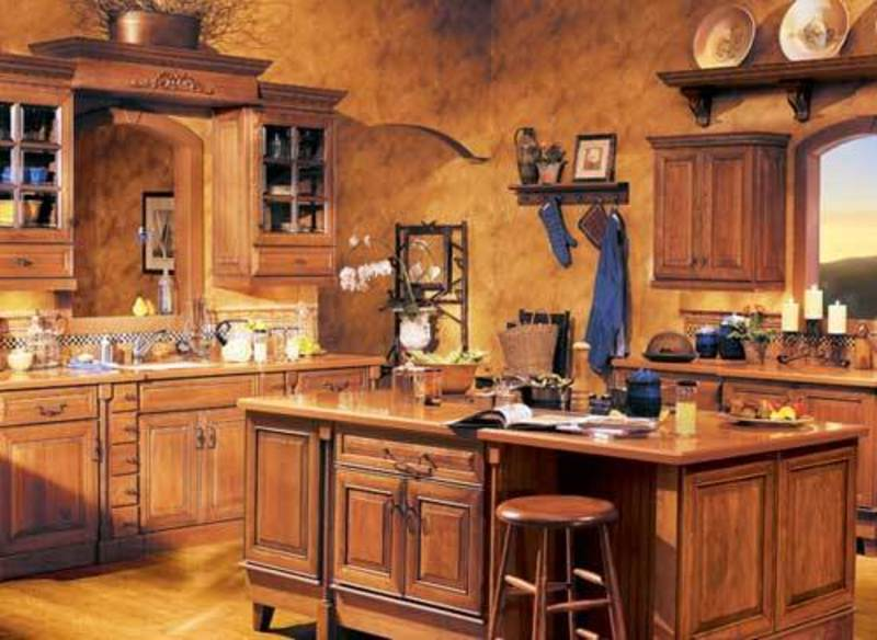 Rustic Wooden Kitchen Shelves Design