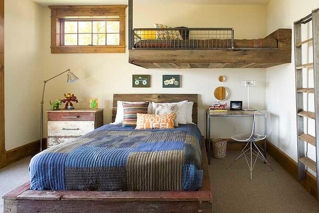 Rustic Industrial Bedroom And Contemporary Rustic Residence Industrial