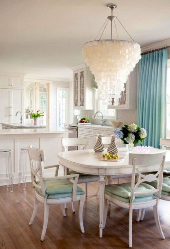 Ordinaire Seashell Chandelier Coastal Dining Room Decor Ideas Design