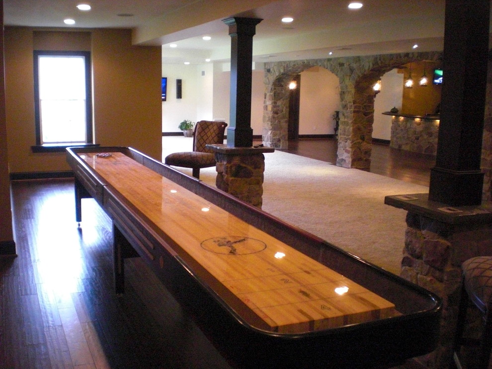 Table Shuffleboard Basement Traditional With Ardmore Basement Design