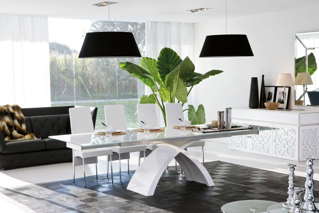 twin-black-pendant-lamps-elegant-glass-tables-