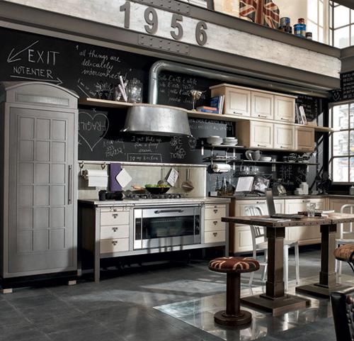 vintage-industrial-kitchen-chalkboard-blackboard-paint-memo-wall