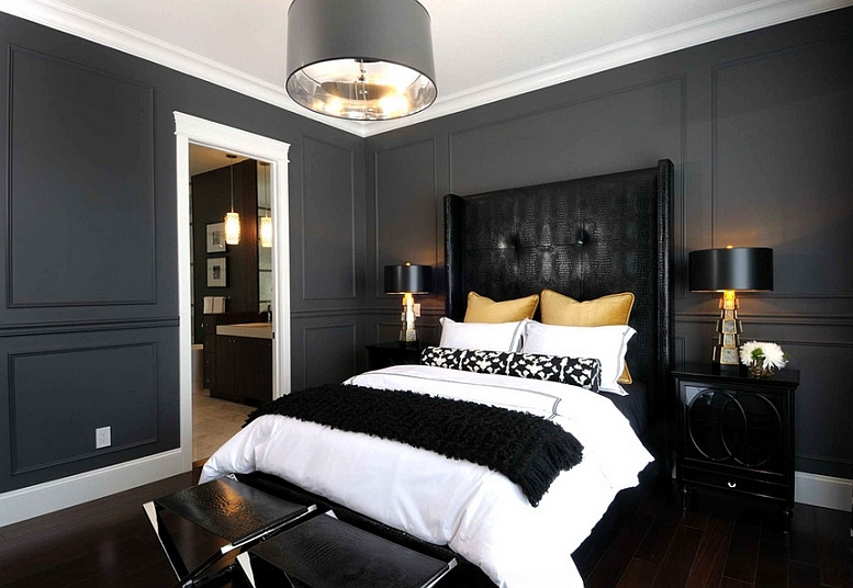 Accents-in-golden-hue-lend-sophistication-to-this-chic-bedroom