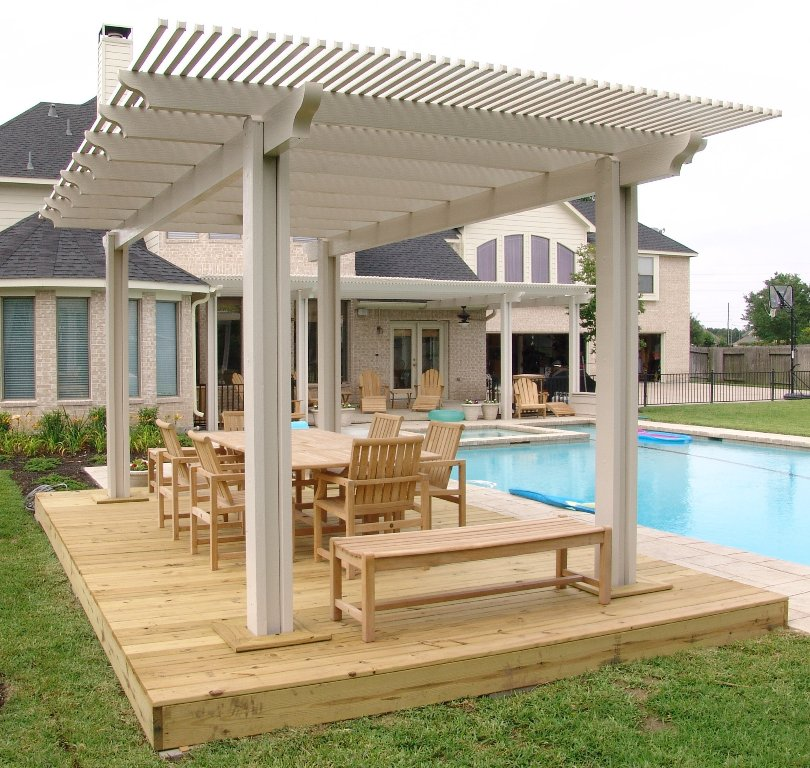 Beautiful-Outdoor-Pergola-Designs-for-Decks-beside-Swimming-Pool