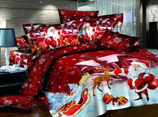 Christmas Themed Bedding Idea With Santa Claus