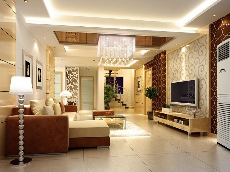 Contemporary Pop Fall Ceiling Designs For Living Room