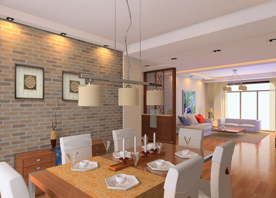 Living-dining-room-brick-wall-design-