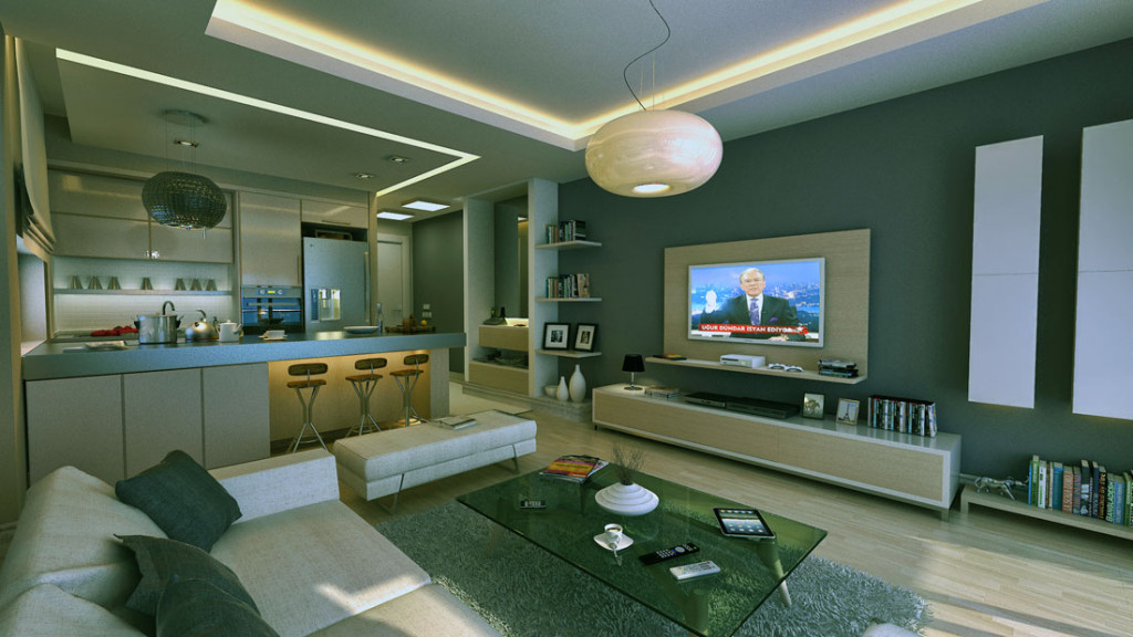 Charmant Modern Living Room Apartment With Mini Bar