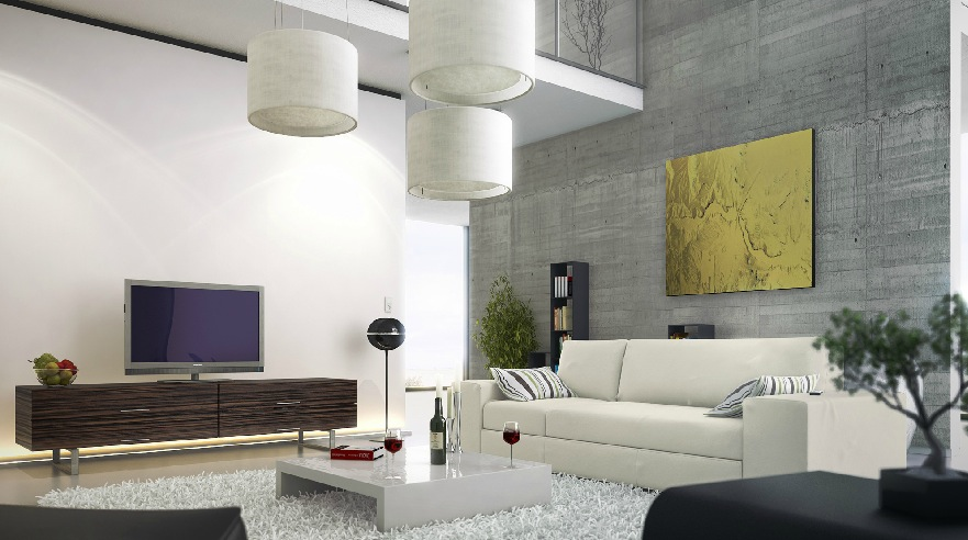 Modern-living-room-concrete-wall-mezzanine