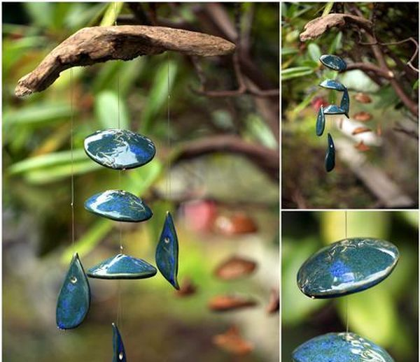 Peacock-blue-and-green-glaze-ceramic-wind-chime