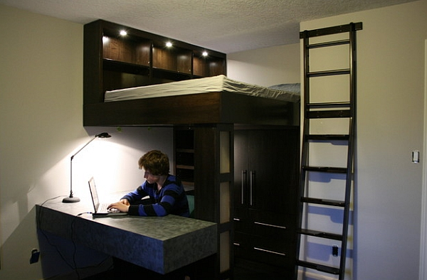 Small-bedroom-design-idea-with-a-loft-bed-and-work-space-below