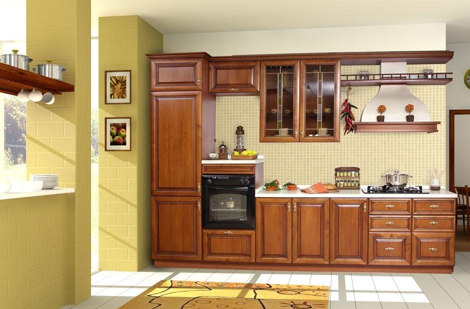 gray-white-wall-and-dark-red-wood-kitchen-design