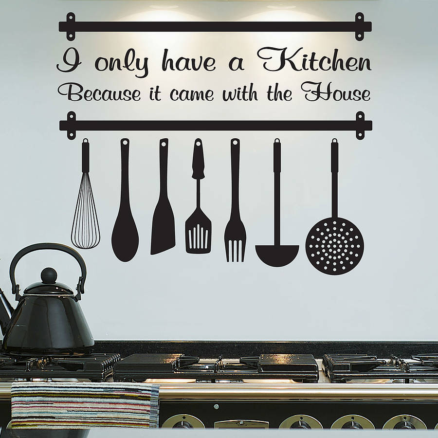 Kitchen Design Utensils Printed Sticker Wall Art