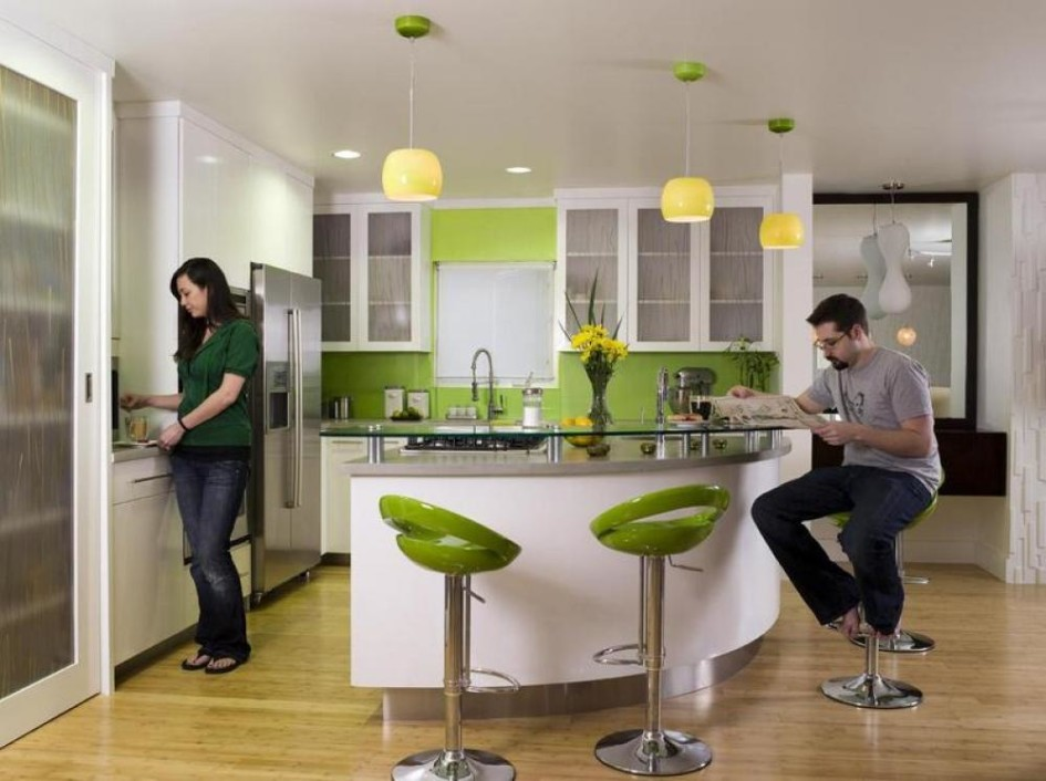 Modern Green Kitchen Ideas With Mini Bar
