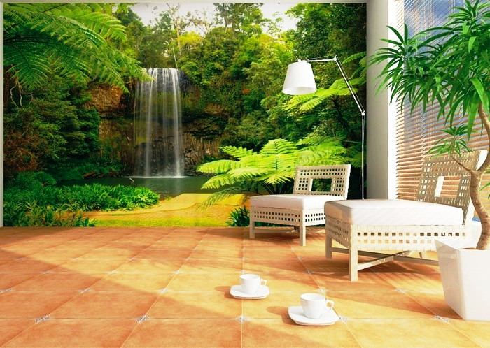 Beautiful-Waterfall-Murals-in-Modern-Lounge