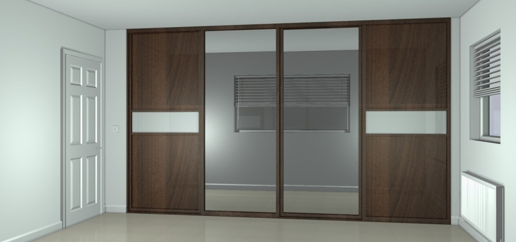 Bedroom-Astounding-Ideas-For-Bedroom-Decoration-With-Double-Glass-Wooden-Sliding-Wardrobe-And-White-Wood-Single-Interior-Door-Heavenly-Bedroom-Decoration-Using-Latest-Des