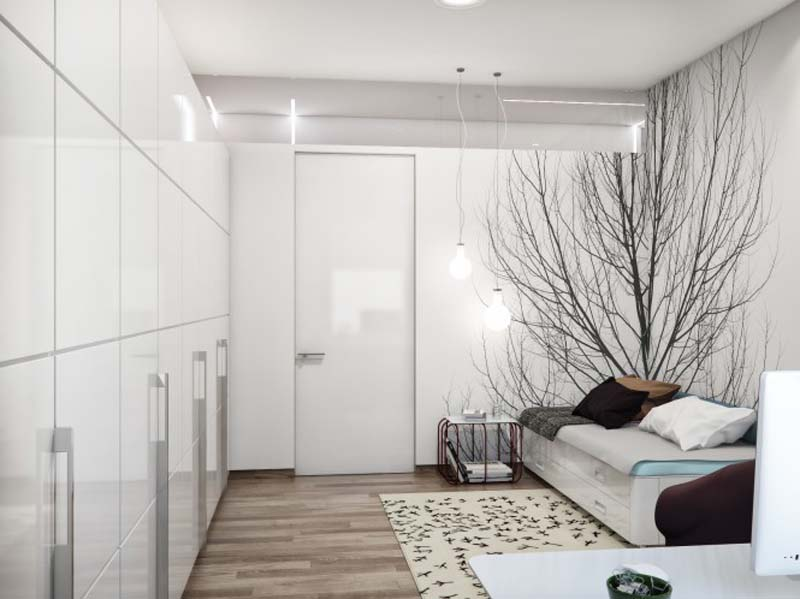 Black-White-Guest-Bedroom-at-Modern-Zoning-Apartment-