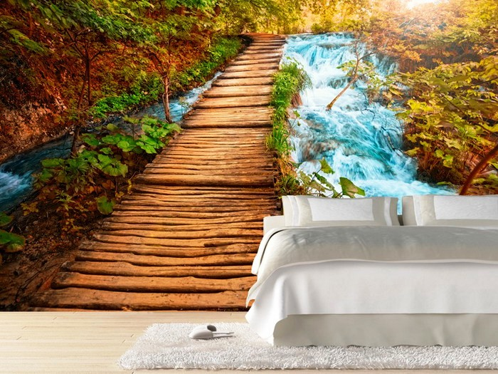Boardwalk-over-a-river-Wall-Mural-for-Bedroom-Design