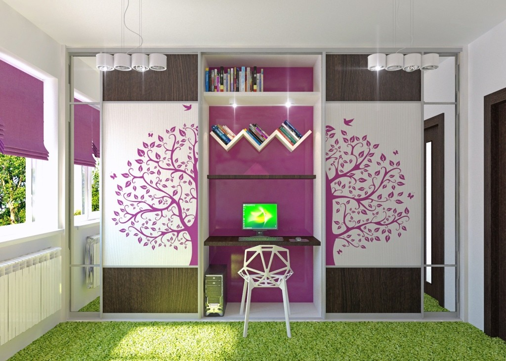 Purple-white-green-girls-room