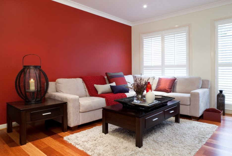 Magnificent Excellent Living Room Red Color And Bright
