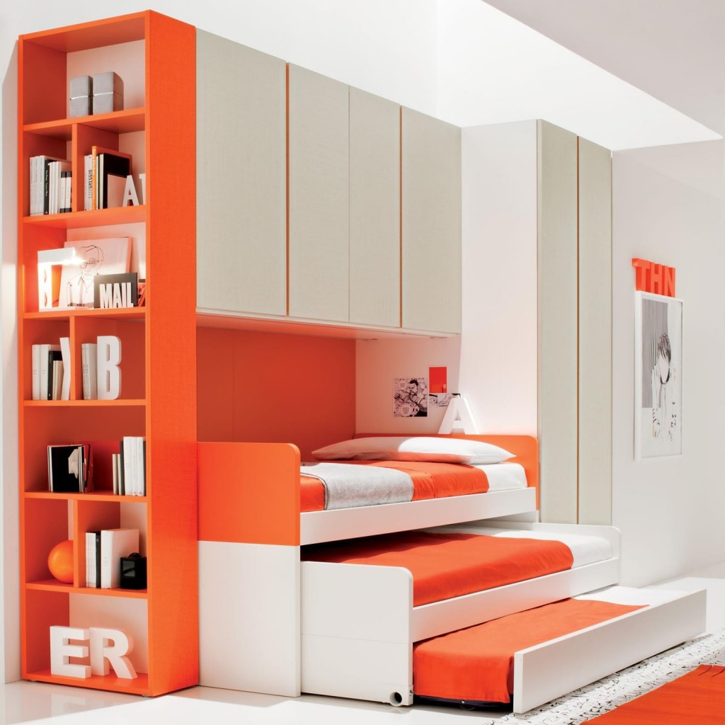 stylish-three-level-trundle-beds-for-kids_rich-orange-bedding-sheet_