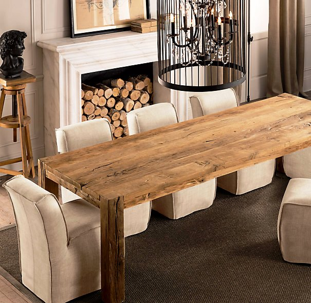 Amazing Reclaimed Wood Dining Table White Chairs Chandelier