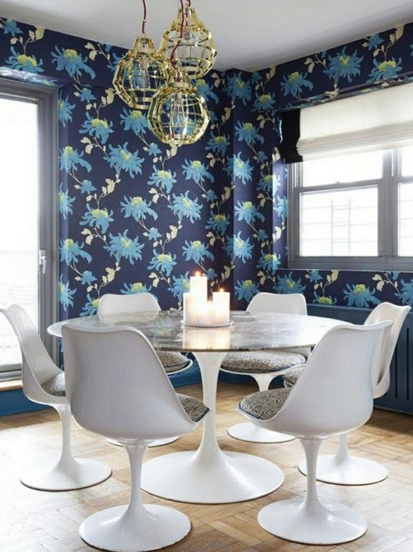 Beautiful-dining-room-wallpaper-white-chairs-candles-wall