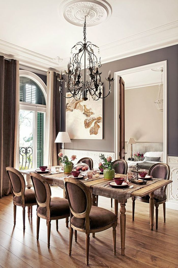 Brown Victorian style dining room